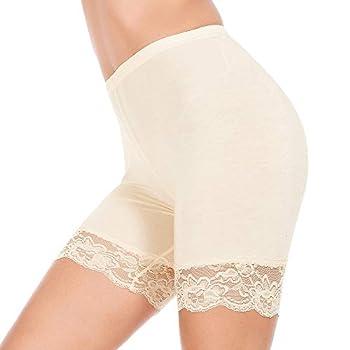 MANCYFIT Slip Shorts for Women Short Leggings Mid Thigh Legging Plus Size Lace Undershorts Beige X-Large