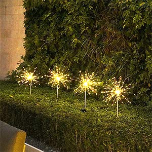 Solar Lights Garden Decoration 120 LED with 2 Modes Fireworks Fairy Lights Weatherproof for Balcony Lawn Field Patio Path DIY Flowers Gifts Christmas Trees Celebrations Weddings (Warm White, 2 Pieces)