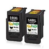 Gohepi PG-540XL Remanufacturados Canon PG-540 Cartuchos de tinta Compatible para Canon Pixma MG3650 MX475 MG3550 MG4250 MG3150 MX375 MG3600 MX395 MG2250 MG3100 MG3250 MG3500 MX535 (2 Negro)