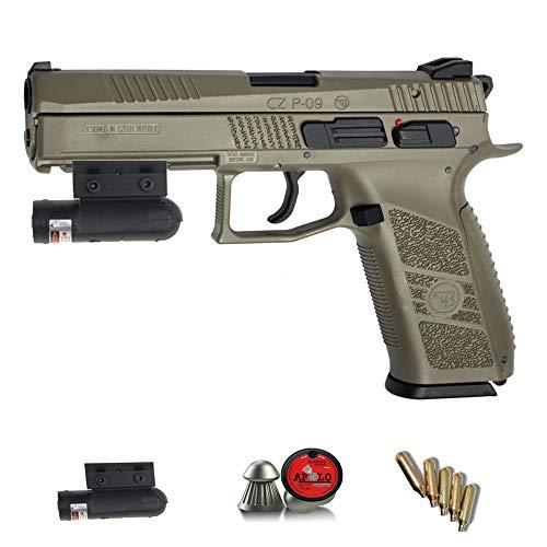CZ P-09 Duty FDE ASG Dessert Láser   Pack Pistola de Aire comprimido (CO2) Y balines de Plomo (perdigones) Cal. 4.5mm. Réplica corredera metálica <3,5 Julios