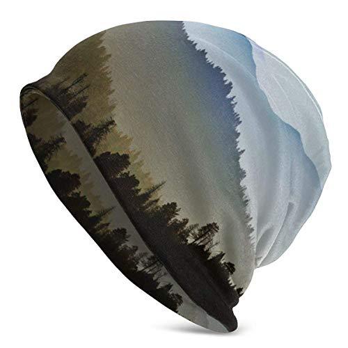 Valender Knit Beanie Hat Mountain Trees Skull Cap School Casual Warm Beanie Hat para Hombres Negro