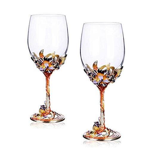 SOAR Botellero Conjunto de Gafas de Whisky de 2 Copas de Vino de Cristal de Cristal de Cristal Rojo - 350ml-perfecto para Aniversario y Boda, Regalos de Vino (Color : B)