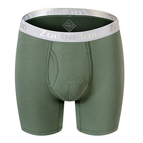 Zonbailon XL Bamboo Tagless Mens Boxer Briefs Underwear with Pouch Long