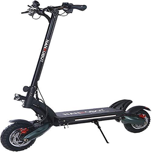 NANROBOT D6 + Adult high Speed Electric Scooter, Dual Motor, 10 inch Tires, Maximum Speed 40mph, Maximum Range 50mph, Maximum Load 330lbs (D6 + (Oil Brake))