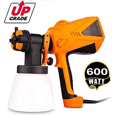 Anfan Advanced Electric Spray Gun 1100ml/min HVLP Paint Sprayer with Three Spray Patterns + Three Nozzle Sizes + Adjustable Valve Knob + 900ml Detachable Container + 6.5ft Power Line