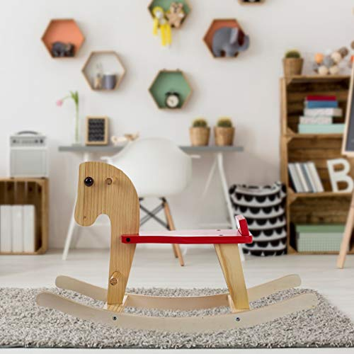 Rocking Pony, Wooden Rocking Horse for Toddlers Baby Wood Ride on Toys, Toddler Ride Animal Indoor Outdoor, Develops Kids Imaginative Play, Coordination and Balance, Animal Rocker for 1-3 Year Old (A)