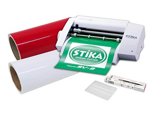 カッティングマシン ステカ SV-8 中長期カッティング用シート 10m 転写シート10m デザインカッター スキージー つきスターターセット (赤 レッド)