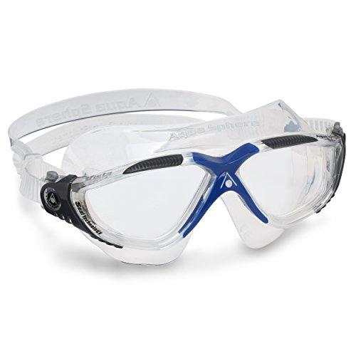 Aqua Sphere Vista, Maschera da Nuoto Unisex Adulto, Trasparente & Grigio Scuro/Lenti Chiare, Taglia unica