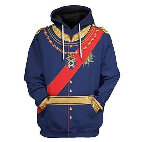Historische 3D Gedruckt Pullover Hoodie Hose Uniform für berühmte Figur Ludwig II Cosplay Kostüm Gr. M, Hoodie