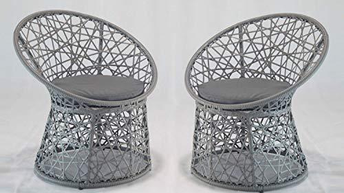 Möbel Akut Korbsessel Rattanstuhl mit Sitzkissen 2er Set grau für Garten Outdoor