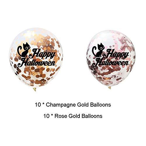 JKLKL 20 Stks Halloween Creatieve Champagne Goud Rose Goud Latex Ballonnen Party Decoratie Set, KTV Mall Bar Shop Thuis