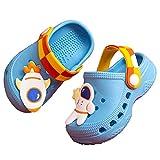 THAIHOEY Kids Cartoon Clogs Boys Girls Toddler Slip-on Sandals No-Slip Beach Pool Slippers, Blue, 5.5-6 Toddler
