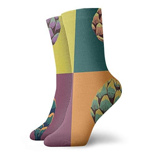 Colorful Watercolor Tropical Flowers Fashion Dress Socks Short Socks Leisure Travel 11.8 Inch