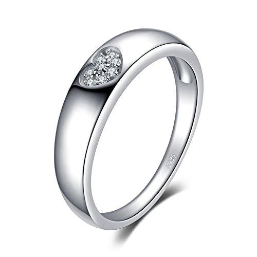 JewelryPalace Amor Corazón Anillos Mujer Plata Diamante Simulado, Anillos de Compromiso Plata de ley 925 Mujer Chapado en Oro, Promiso Anillo Mujer Alianzas Boda, Joyería de Aniversario