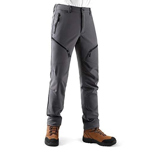 KUTOOK Pantalones Trekking Hombre Invierno Pantalones Soft Shell Hidrófuga Cálidos y A Prueba De Viento con Forro Polar para Senderismo Escalada Montaña(Gris,2XL)