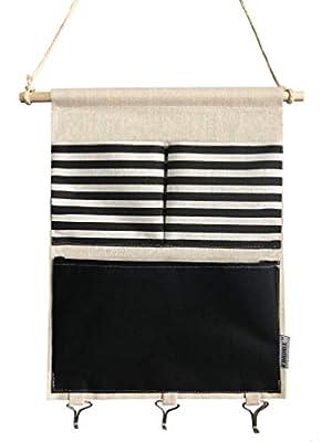 KINGREE Over The Door Magazine Storage Pockets, Wall Door Closet Hanging Storage Bag Organizer, (3 Pockets with 3 Hooks-Black Stripe)