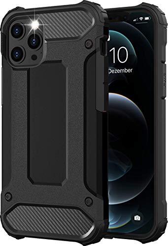 iPhone 12 & 12 Pro Hülle Schwarz [Panzer Outdoor Case] Handyhülle iPhone 12 Hardcase Ultra Slim kompatibel mit dem iPhone 12/12 Pro Case