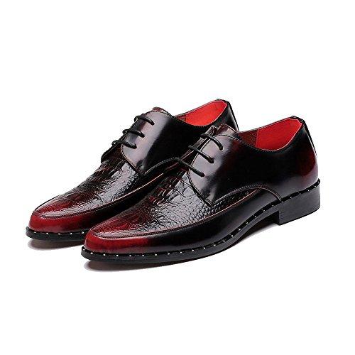 Centenarios Business Formale Männer Krokodilleder Leder Oberen Schuhe Schnüren Low Top Knöchel Oxfords for Herren (Color : Black, Size : 39 EU)