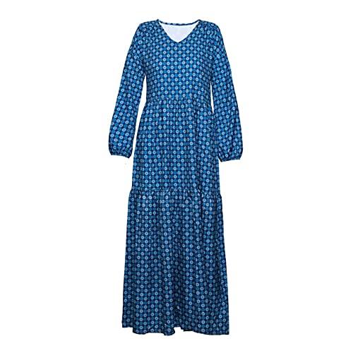 Automne Le Printemps Robe Mousseline Swing Femme Manche Longue Col Rond T Shirt Robe Vagues Imprimee Robe Décontractée À Plissée,Bleu,S