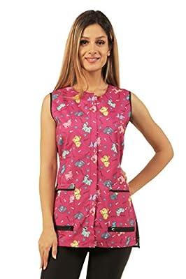 Ladybird Line Pink Covered Zipper Waterproof Dog Design Grooming Vest (X-Large)