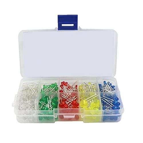 Kit de resistencia de diodos de color de diodos de color naisicatar de luz 3mm 5mm Kit de surtido de lámparas coloridas 300pcs