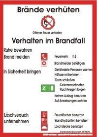 Brandschutzordnung # Brandschutzzeichen # Kunststoff # langnachleuchtend # selbstklebend # Maße 20 x 30 cm # DIN 14096-1 Teil 1