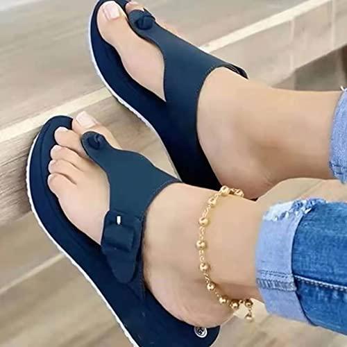 YIYUNKJ Frauen-Thongs Wedges Sommer Orthopädische Sandalen für Frauen, Plattformstrand Slipper Bequemer Slip auf Flip Flops (Color : Blue, Size : 35)