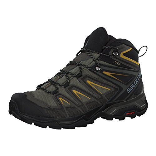 Salomon Men's X Ultra 3 MID GTX Hiking, Castor Gray/Black/Green Sulphur, 12