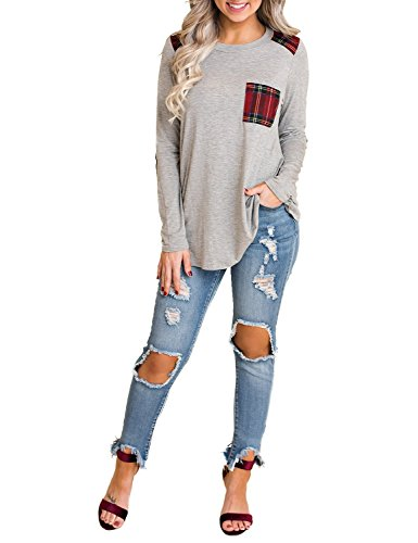 Blooming Jelly Womens Long Sleeve Plaid Shirt Elbow Patch Color Block Tops Pocket Knit Tee (Medium,Grey)