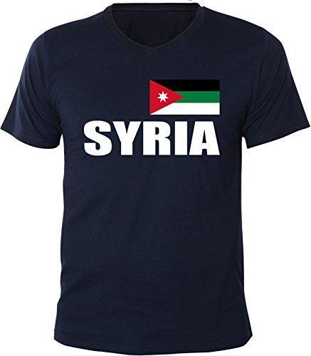 Mister Merchandise Herren V-Ausschnitt T-Shirt Syria Fahne Flag, V-Neck, Größe: S, Farbe: Navy