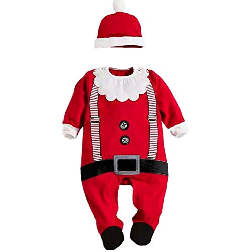 HOMEBABY Toddler Baby Girls Boy Santa Claus Costume Christmas Romper + Hat Set Jumpsuit Pajamas Outfits Long Sleeve Tops Newborn Gifts 6-24 Months Red