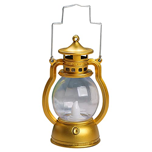 Lámpara de petróleo, lámpara de queroseno retro, lámpara portátil, velas LED portátiles, luces antiguas, ornamentales, festivales, Halloween, decoración, bar, festival, atmósfera (dorado)