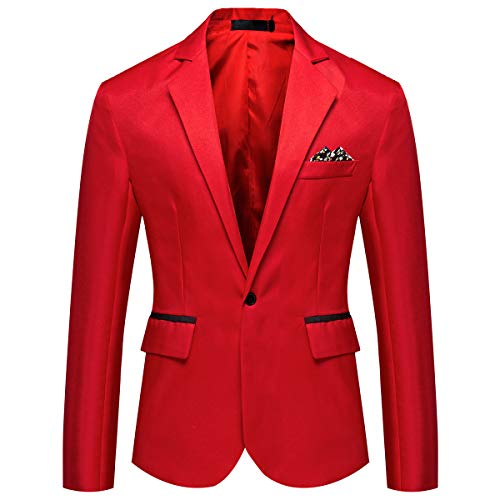 YOUTHUP Mens Lightweight Blazer 1 Button Slim Fit Suit Jacket Party Casual Chic Smart Blazers Red