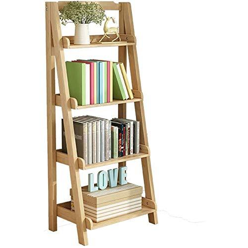 Estante de Almacenamiento Estantería de libros, Librería, Librería estantería industrial, madera estantería librería de madera Estantería de escalera-Forma Permanente Estante con protección en 4 nivel