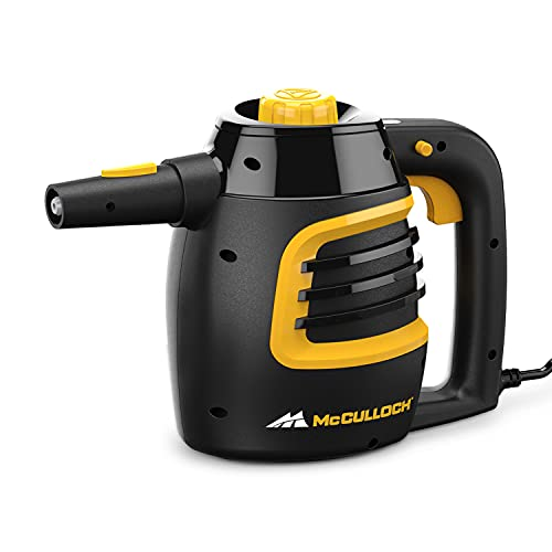 McCulloch MC1230 Handheld Steam Cleaner with Extension Hose, 11-Piece Accessory Set, Chemical-Free Cleaning, Black