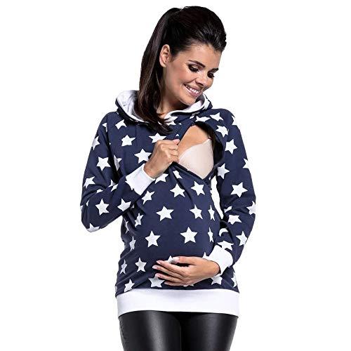 SANFAHSION Sweat de Maternité,Hoodie Imprime Étoile Grossesse Blouse d'allaitement Brassière Top Col Haut Mode Sweat Shirt Chapeau Chaud Confortable(Bleu foncé,M)