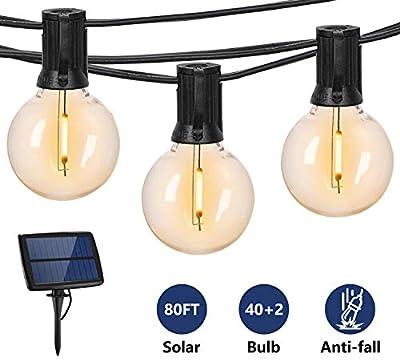 Svater Solar Outdoor String Lights,80FT with 42pcs G40 Shatterpoof Bulbs,0.2 Watt Led 2700K Warm White,IP45 Waterproof,Solar Powered Patio Lights