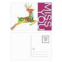 クリスマスのカラフルな葉のヘラジカ祭パターン ポストカードセットサンクスカード郵送側20個ミス