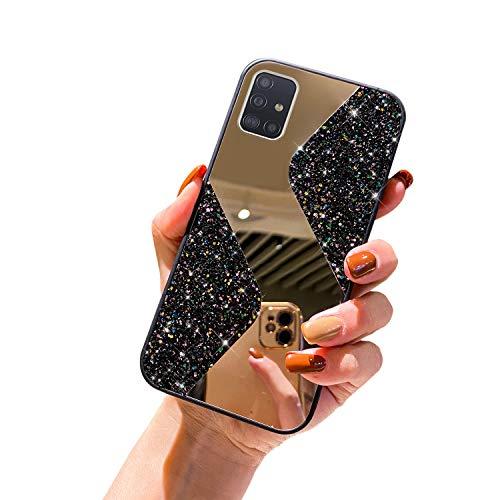 URFEDA - Cover in silicone a specchio per Samsung Galaxy A51, con glitter, glitter, strass, in TPU, antigraffio, antiurto, colore: Nero