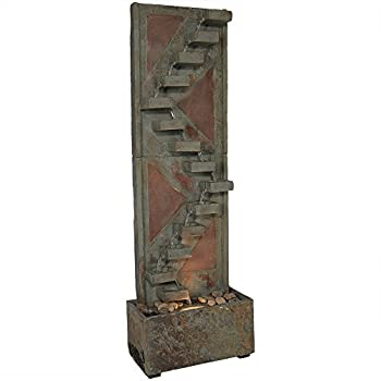 Sunnydaze Descending Staircase Slate Outdoor Water Fountain - Large Garden & Backyard Waterfall Fountain Feature with Copper Accents & LED Light - 48 Inch Tall