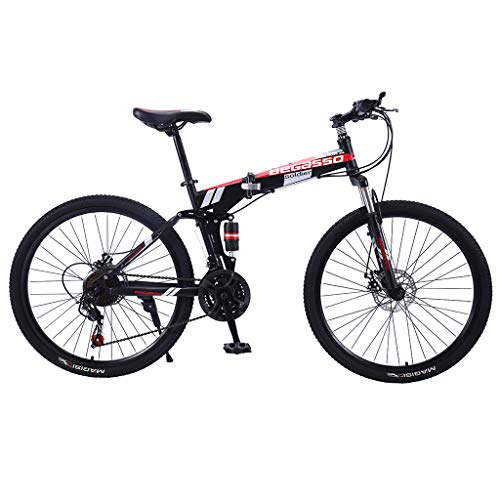 Sinerixc Mountain Bikes for Adult, 26-inch Wheels Mountain Trail Bike, 21-Speed Gears Carbon Steel Full Suspension Frame Folding Bicycles with Dual Disc Brakes, 2020 New Road Bikes