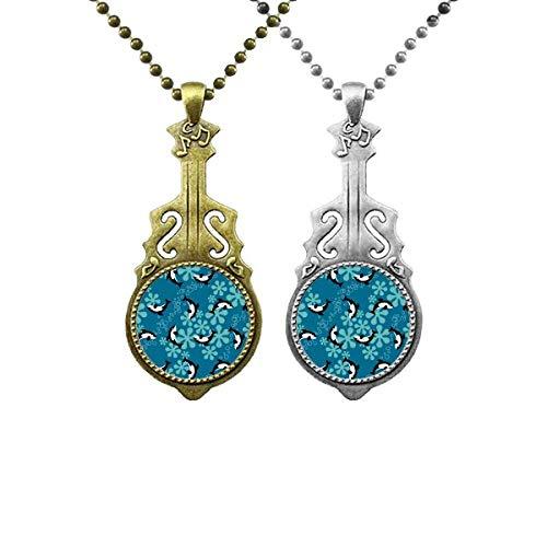 Halskette mit Anhänger, Motiv: Delfine, Wale, blaue Wellen, Musik, Gitarre, Schmuck