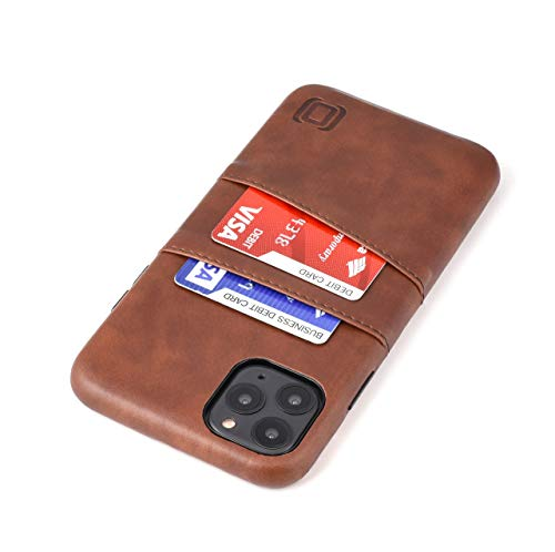 Dockem iPhone 11 Pro Max Wallet Case: Built-in Metal Plate for Magnetic Mounting & 2 Credit Card Holder Slots (6.5 Exec M2, Synthetic Leather, Brown)