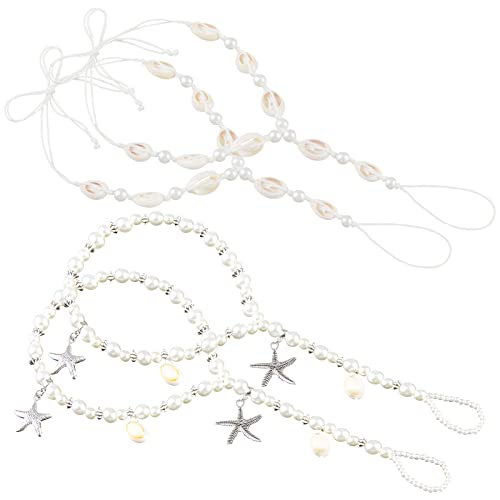 Cosweet 2 Pairs Barefoot Sandals Anklet Chain with Shell Starfish for Women Lady's Beach Wedding Foot Jewelry Party Accessories