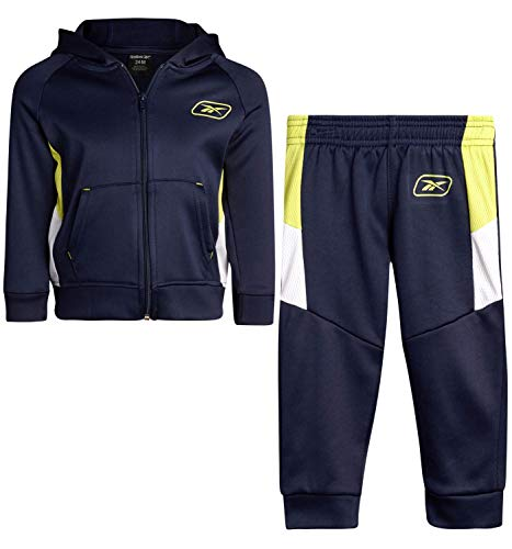 Reebok Baby/Toddler 2-Piece Athletic Tricot Tracksuit Set with Zip Up Jacket and Jog Pants, Size 12M, Navy/Lime/Green