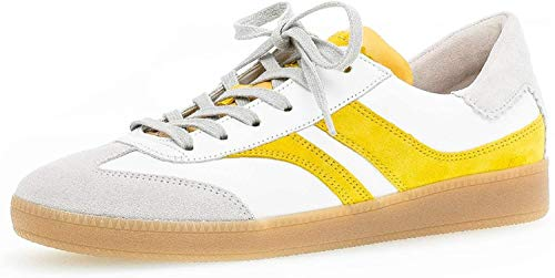 Gabor Damen Sneaker, Frauen Low-Top Sneaker,Comfort-Mehrweite,Optifit- Wechselfußbett, strassenschuh schnürer schnürschuh,Weiss/Sole,43 EU / 9 UK