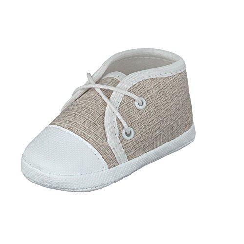 Babyschuhe Taufschuhe Lauflernschuhe Kinderschuhe Krabbelschuhe, Festliche Baby Schuhe, Jeansstoff, Beige, Gr.- 17 EU/Herstellergröße- 10