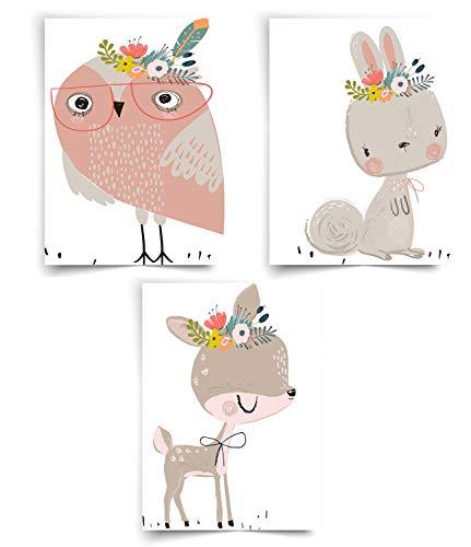 CIUTEK Lot de 3 Affiches pour Chambre d'Enfant et Bébé, Animaux de la Forêt Afrique Wild Zoo Gratuit Murale Sans Cadre 20CM*23CM-Girafe Lapin Hibou