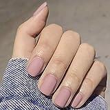 Sethexy Mat Court Faux ongles Carré Pur Rose 24 Pièces Couverture complète Acrylique appuyer sur False Nail Tips pour Femmes et Les filles