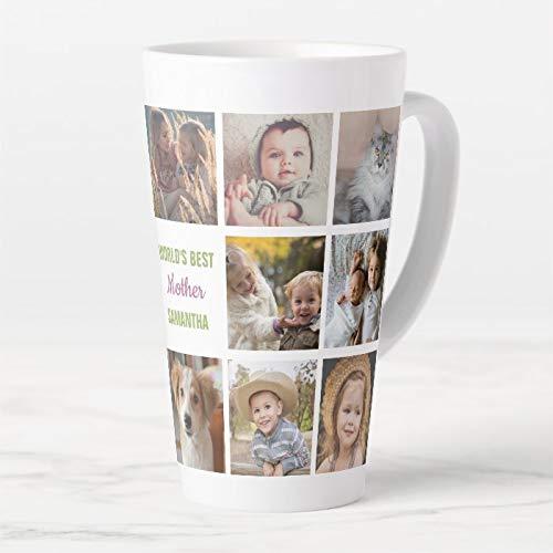 445 ml kubek do kawy, Worlds Best Mother Name Instagram zdjęcie kolaż latte kubek, ceramiczny kubek podróżny latte z pokrywką i łyżeczką, filiżanka do herbaty
